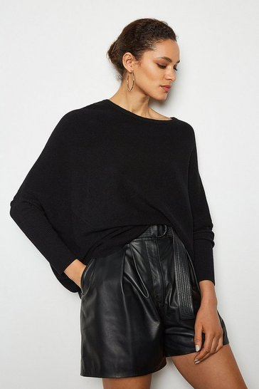 Black Drapped Rib Jumper