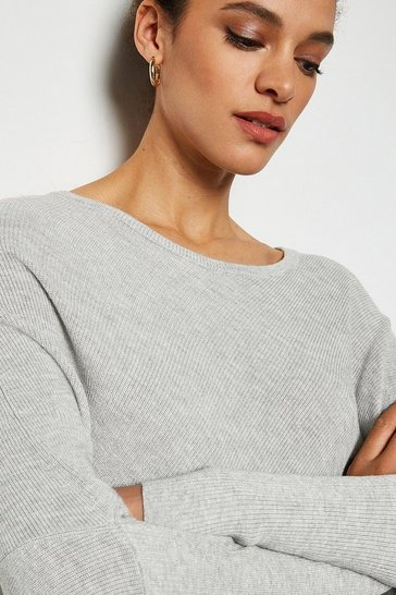 Grey Draped Rib Jumper