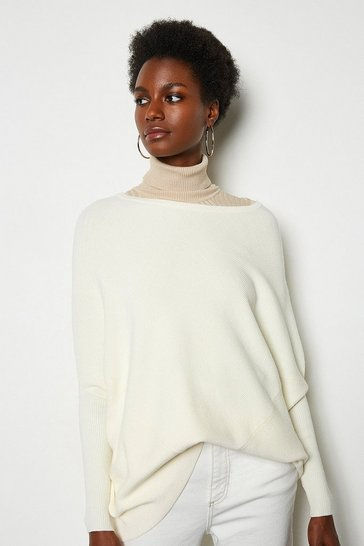 Ivory Draped Rib Jumper