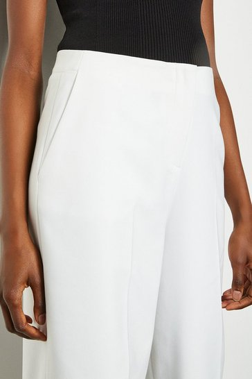 Ivory Essential Cotton Sateen Wide Leg Trousers