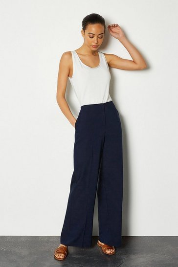 Navy Essential Cotton Sateen Wide Leg Trousers