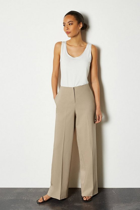 Stone Essential Cotton Sateen Wide Leg Trousers