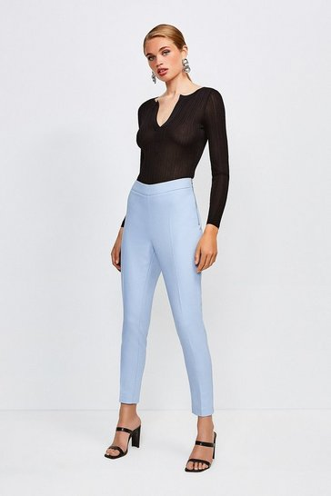 Pale blue Essential Cotton Sateen Capri Trousers