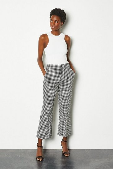 Blackwhite Check Tailored Kick Flare Trousers