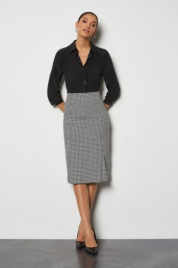 Blackwhite Check Tailored Pencil Skirt