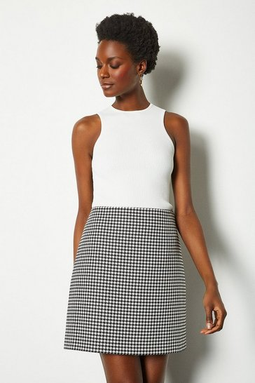 Blackwhite Check Mini Skirt
