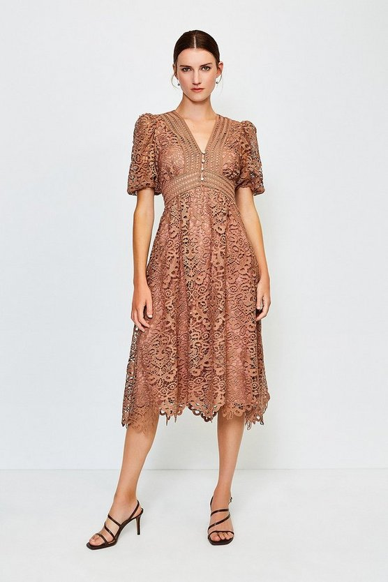Beige Cutwork Lace Midi Dress