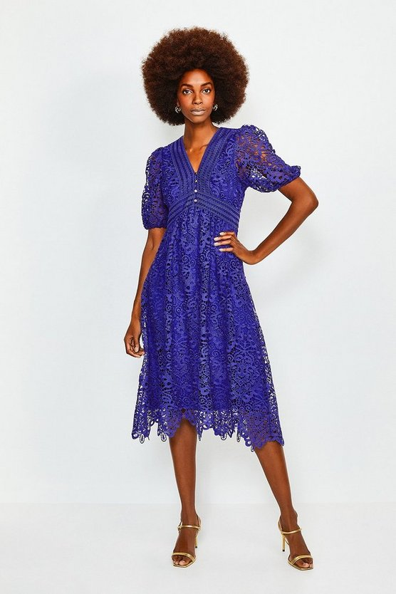 Dark blue Cutwork Lace Midi Dress