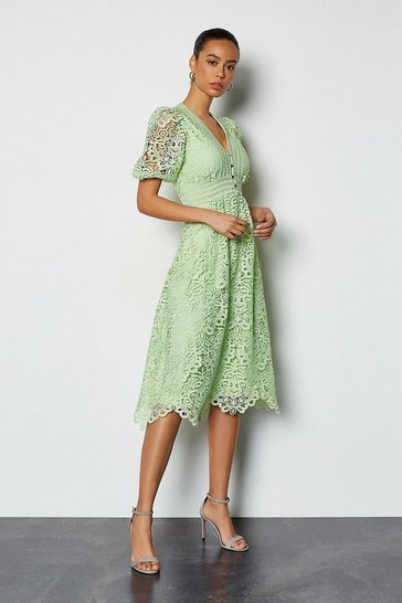 Pale green Cutwork Lace Short Sleeve Midi Dress