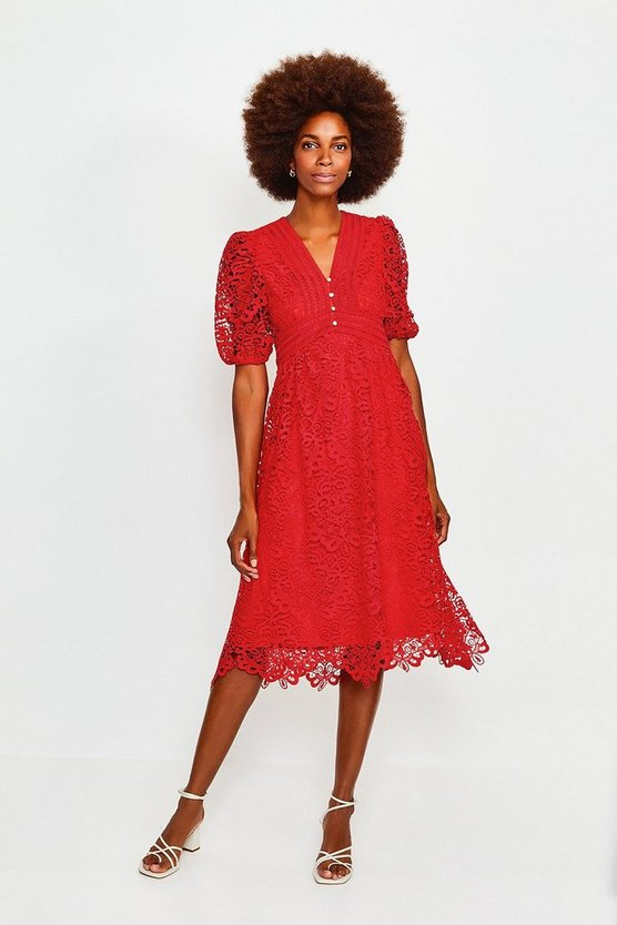 Red Cutwork Lace Midi Dress