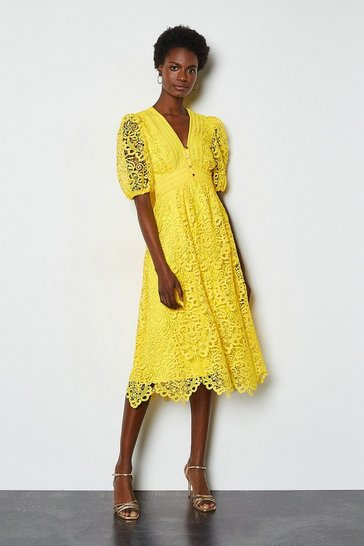 Yellow Cutwork Lace Short Sleeve Midi Dress
