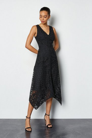 Black Panelled Lace Dress