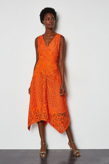 Orange Sleeveless Panelled Lace Midi Dress