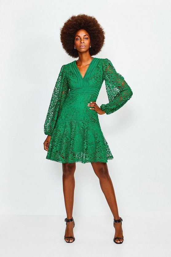 Green Cutwork Lace Long Sleeve Dress