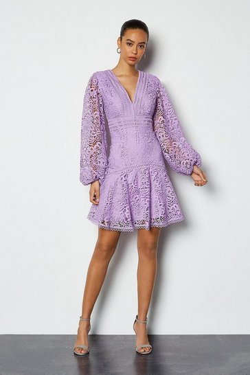 Lilac Cutwork Lace Long Sleeve Dress
