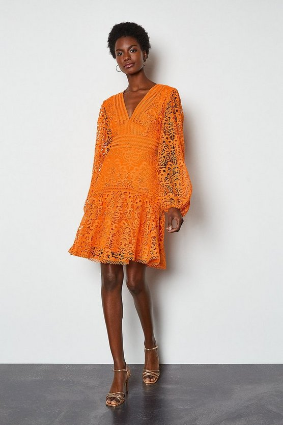 Orange Cutwork Lace Long Sleeve Dress