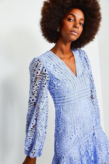 Pale blue Cutwork Lace Long Sleeve Dress