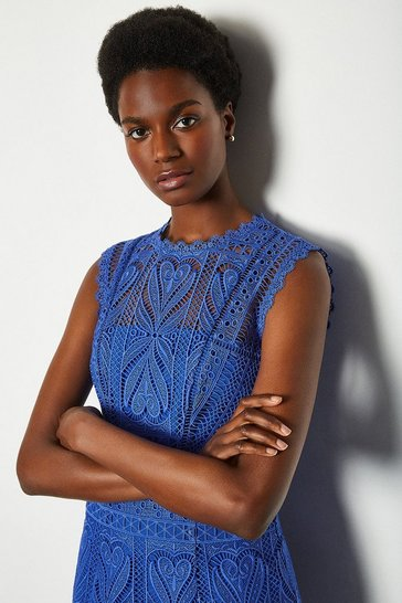 Cobalt Cutwork Lace Shift Dress