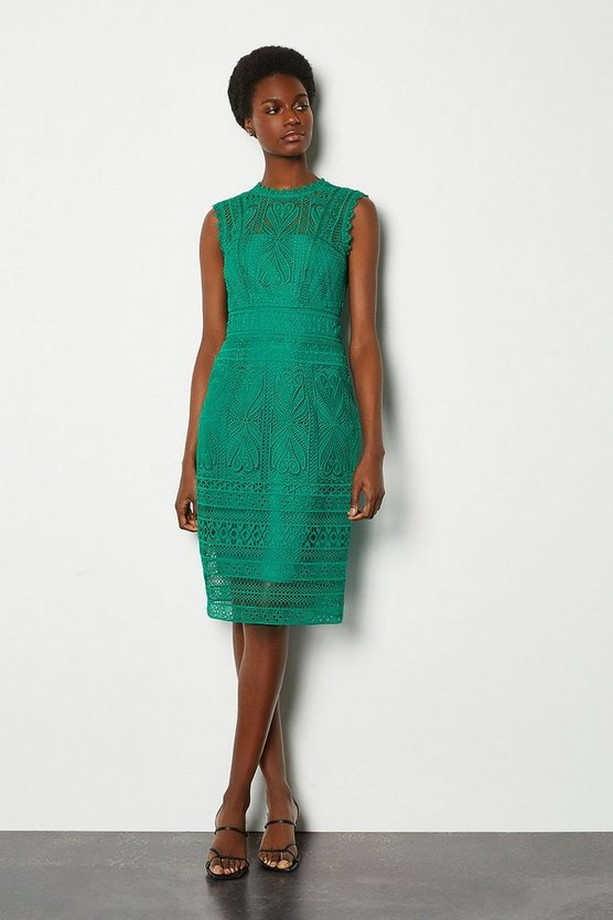 Green Cutwork Lace Shift Dress