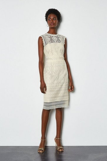Ivory Chemical Lace Shift Dress