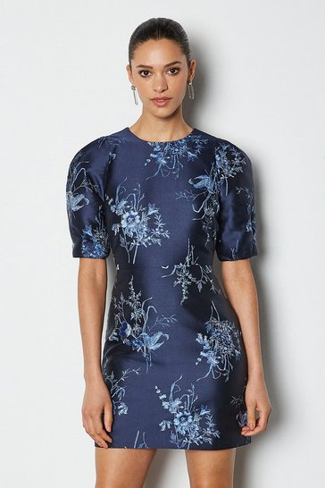 Blue Jacquard Puff Sleeve Short Dress