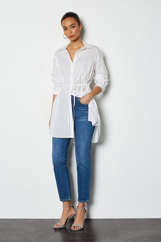 White Drawstring Shirt
