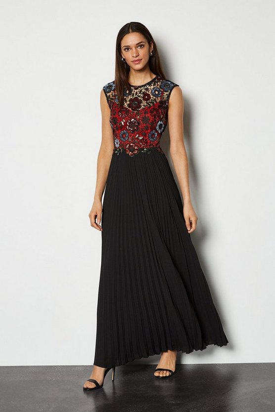 Red Sequin Lace Maxi Dress