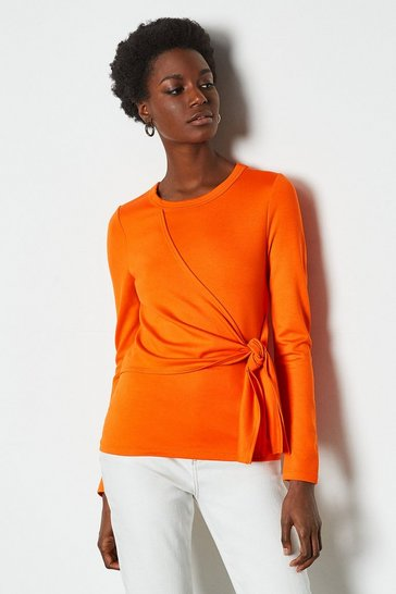 Red orange Tie Front Long Sleeve Tee
