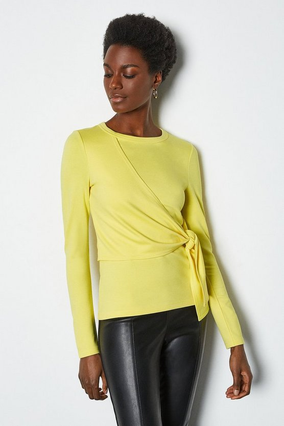 Yellow Tie Front Long Sleeve Tee