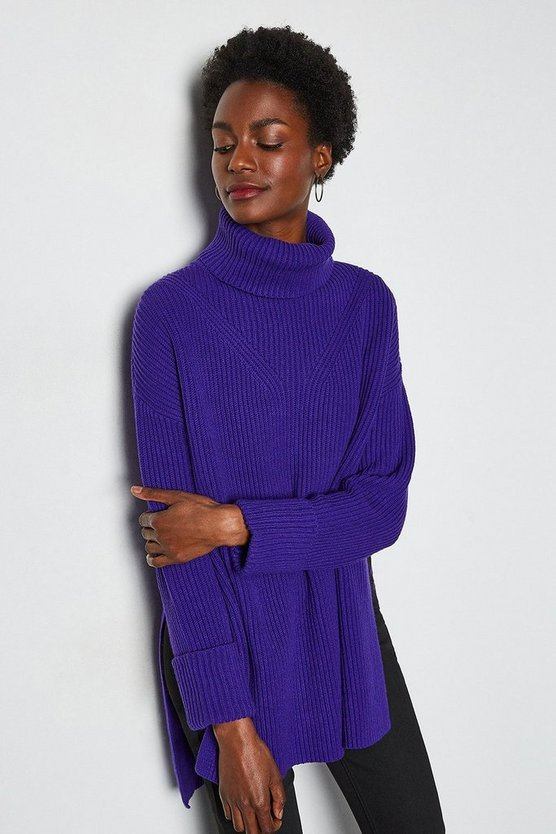 Cobalt Chunky Roll Neck Jumper With Side Splits