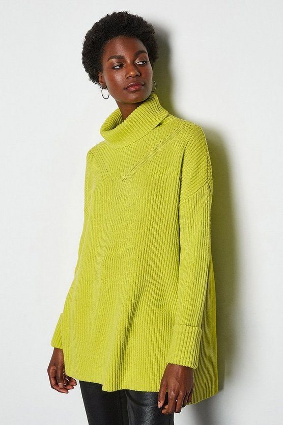 Lime Chunky Roll Neck Jumper With Side Splits