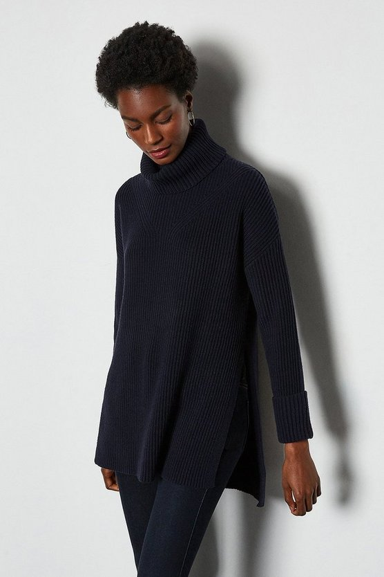 Navy Chunky Roll Neck Jumper With Side Splits