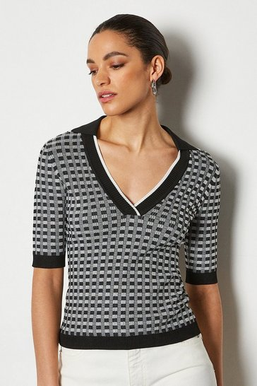Blackwhite Contrast Check Graphic Short Sleeve Top