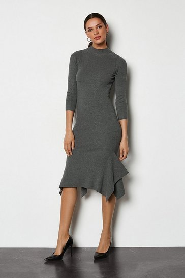 Grey marl Flippy Hem Rib Knit Midi Dress