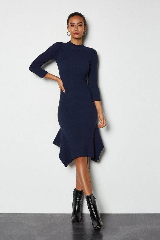 Navy Flippy Hem Rib Knit Midi Dress