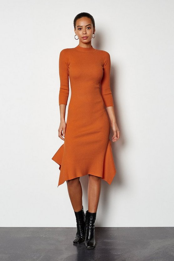 Orange Flippy Hem Rib Knit Midi Dress