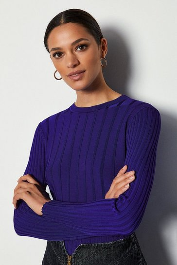 Blue Luxe Rib Knit Jumper