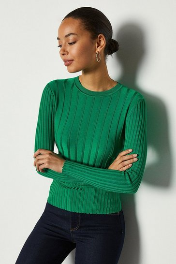 Green Luxe Rib Knit Jumper
