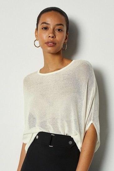 Ivory Lightweight Cocoon Knit Jumper