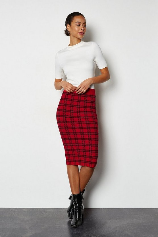 Red Bold Check Knit Skirt