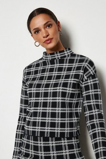 Black Bold Check Knit Jumper