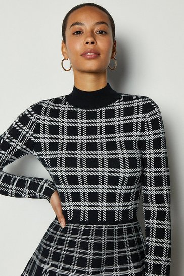 Blackwhite Bold Check Knit Fit And Flare Dress