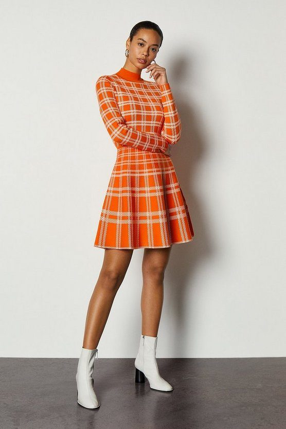 Orange Bold Check Knit Fit And Flare Dress