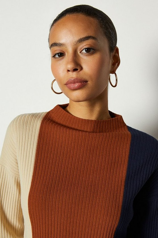 Natural Colour Block Stripe Long Line Jumper