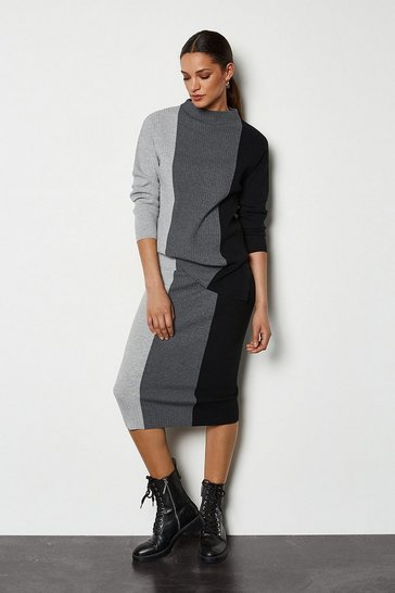 Grey Colourblock Stripe Knit Skirt