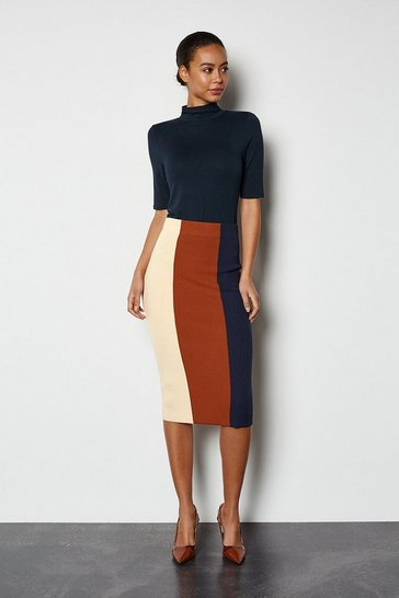 Natural Colourblock Stripe Knit Skirt