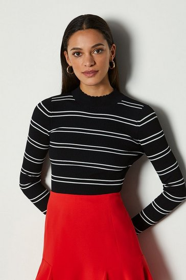 Black Striped Knit Scallop Trim Jumper