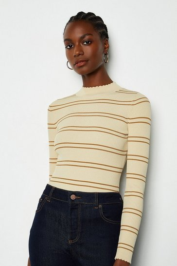 Natural Striped Knit Scallop Trim Jumper