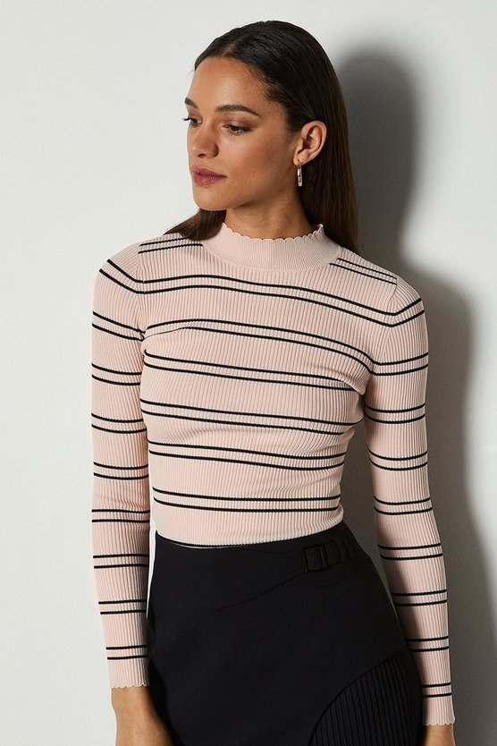 Pink Striped Knit Scallop Trim Jumper