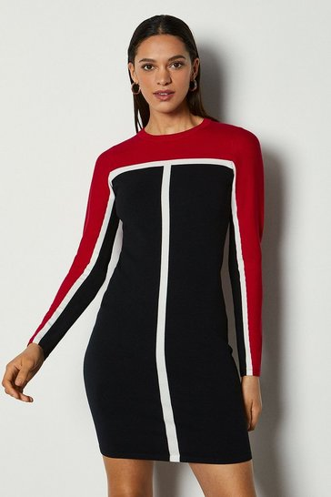 Red Contrast Stripe Knit Dress